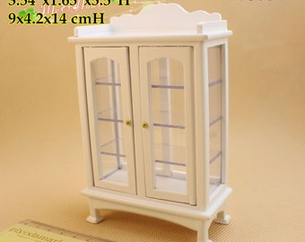 1:12 Dollhouse Miniatures Living Room Furniture China Cabinet Living Room Display White