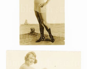 2 old Mack Sennett Bathing Beauty Postcards