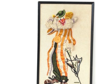 Vintage Embroidered Crewal Clown Art Piece
