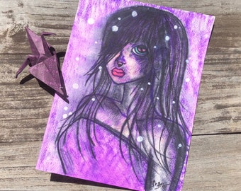 Winter Snow 9 x 12 Big Eyed Watercolor Painting, Purple Modern, Wall Art, Painting, Dollie, Big Eyed Girl, pastel goth