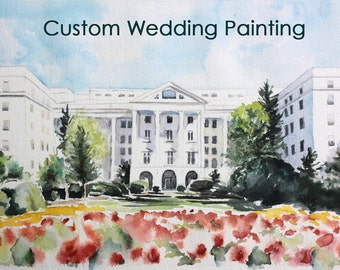 Wedding Illustration,  Custom Wedding Venue Watercolor Painting, Personalized Wedding Gift, Personalized Painting, Gift for Couple