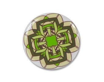 Green flower pinback button, pinback button, 1.25 inch button, pinback button badge, cute buttons, pins and pinback buttons