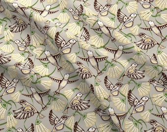 Hummingbird Fabric - Hummingbirds Blooms  By Jjtrends - Hummingbird Floral Modern Spring Garden Cotton Fabric By The Yard With Spoonflower