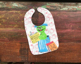 Oscar the Grouch Bib - Made from Upcycled Vintage Sesame Street Bed Sheet with Terry Cloth Back - OOAK