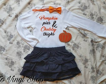 Baby Girl Pumpkin Pie And Chubby Thighs Fall Thanksgiving Funny Onesie