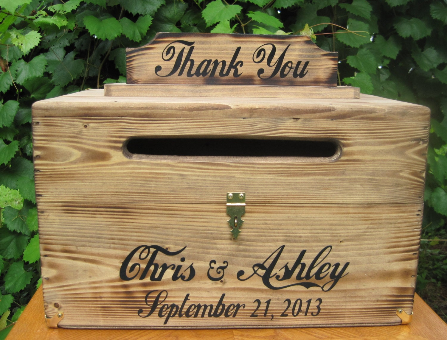 Rustic Personalized Painted Wooden Wedding Card Box LARGE