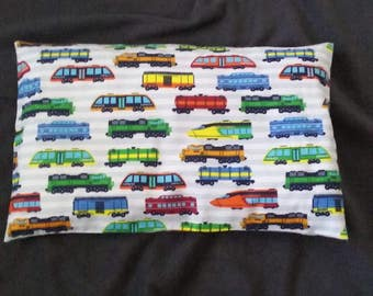 Train Colorful  Flannel Pillow Case/ Newborn Pillow Case/ Toddler Pillow Case/ Children Pillow Case/ Kids Pillow Case/ Boy's Pillow Case