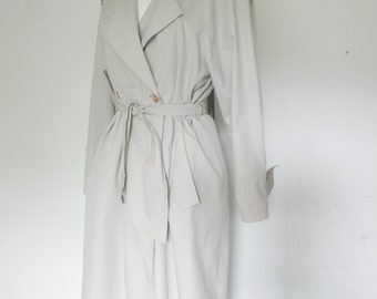 Vintage Collectible vintage-Trench Coat-Double Breasted Overcoat 80s Gray Trench Coat-Classic long trench-double breasted trench coat