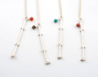 Twig pendant with gemstone, carnelian, jasper, malachite, tiger eye, sterling silver, unique jewelry, nature lover gift, gardener gift,