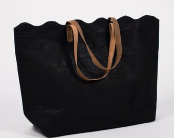 Black Scallop Top Monogrammed Large Tote Bag/Purse