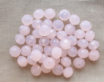 20 glass Abacus beads faceted pale pink 10 x 7mm LBP00191B