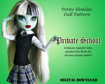 School Uniform doll clothes sewing pattern for Petite Slimline Fashion girls: DC, High, Monster, Ever After, Dal, Obitsu & Super Hero