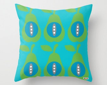 Scandinavian pillow - Pears pillow cover - Blue and green pillow cover - Modern pillow cover - pillow case - Decorative pillow cover