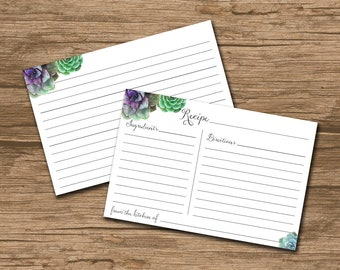 Rustic Recipe Card - INSTANT DOWNLOAD - Printable double-sided Recipe Card - Bridal Shower Recipe Cards - watercolor succulents - Ellie