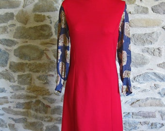 1970s red dress with long butterfly print sheer sleeves