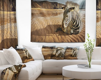 Designart Beach Zebra Animal Wall Tapestry, Wall Art Fit for Wall Hanging, Dorm, Home Decor
