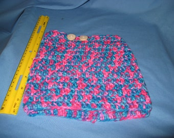 Boot cuffs, handmade acrylic yarn, 2 wood buttons pink,teal,purple,blue