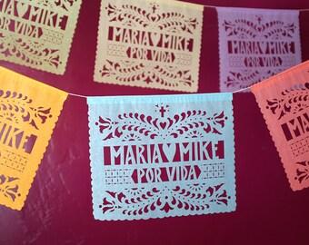 SANTA CRUZ Papel Picado - Sets of 2 banners - personalized wedding decorations