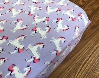 Unicorn Crib Sheet  / Jersey knit baby bedding / rainbow, love, unicorns / nursery crib bedding