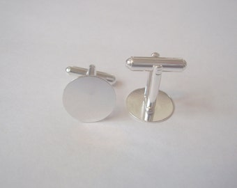 Sturdy silver plated cuff link backs-1 pair-free shippng