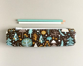 Skinny Pencil Case Woodland Forest Brown and Blue Trees Pencil Pouch Cute Pencil Case Floral Purse Organizer