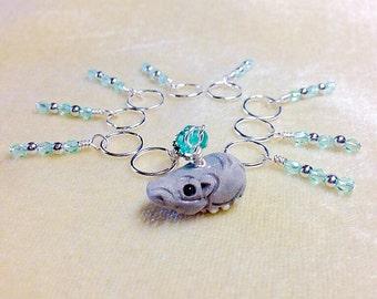Hippopotamus Stitch Marker Set, Snag Free Gift for Knitters, Hippo, Zoo Animal
