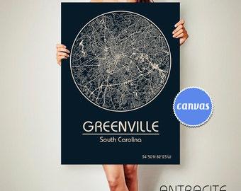 GREENVILLE South Carolina CANVAS Map Greenville South Carolina Poster City Map Greenville South Carolina Art Print Greenville South Carolina