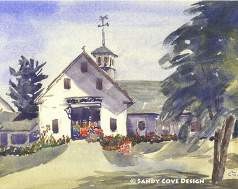 5 x 7 Greeting Card with Envelope - Antique Barn, Naples, Maine - Print from Watercolor by E.S. Beal