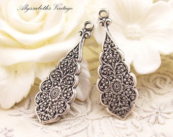 Art Nouveau Antiqued Silver Ox Oriental Floral Embossed Stampings Earring Drops Dangles - 4