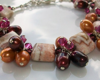 Swarovski Crystal, Freshwater Pearl, & Agate Bracelet   SRAJD  hand made   trend   birthday   holiday   organic ooak