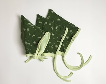 Pixie Bonnet - Snowflake Bonnet - Baby Elf Hat - Winter Baby Hat - Baby Pixie Bonnet - Toddler Hat- Baby Gnome Hat - Snowflake Hat