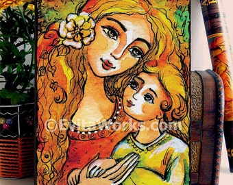 Motherhood folk art painting, mother and child, mother and son, home decor wall decor woman art, ACEO wood block, ABDG