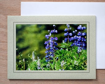 5x7 Photo Note Card; Sage Notecard; Purple Wildflowers Card; All Occasion Card; Blank Notecard