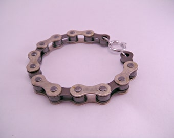 Chain Reaction Recycled Bicycle Bike Chain Bracelet Punk Kitsch Geek Black or Brass