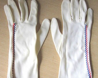 Vintage 50s White Dress Gloves with Red and Blue Embroidery Detail