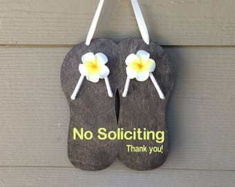 No Soliciting, No Soliciting Flip Flop, No Soliciting Sign, No Soliciting Please, Please No Soliciting Sign, Flip Flop, Hanging Sign