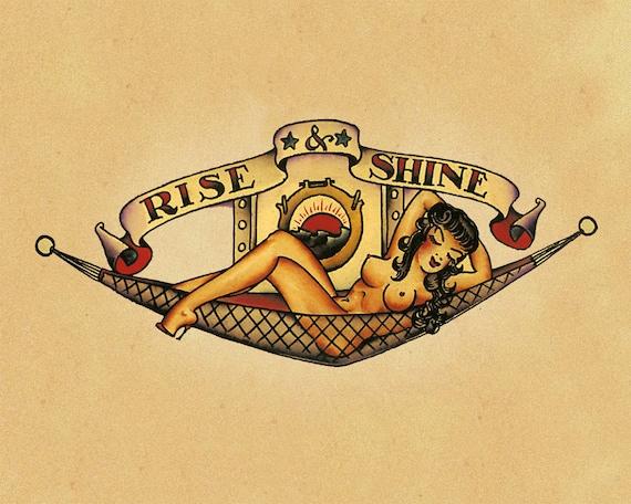 Rise and Shine Pin up Sailor Jerry Tattoo Enamel Metal TIN
