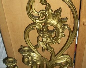 Syroco Candelabra Candle Holder Gold Floral Wall Sconce Hollywood Regency 1978