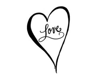 CLEARANCE Calligraphy Love Heart Rubber Stamp small