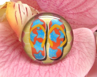 1 cabochon 25 mm glass flip flops Beach 5-25 mm