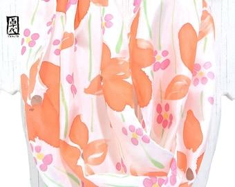 Silk Scarf Handpainted, Loop scarf, Spring Scarf Women, Summer Infinity Scarf, Infinity Scarf Lightweight, Spring Orange Wildflower, Takuyo