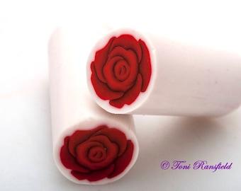 Dark Red Rose Polymer Clay Cane, Raw polymer Clay Cane, Millefiori Polymer Clay