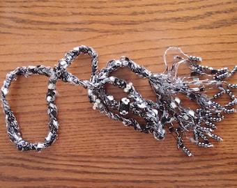 Beaded Trellis Necklaces, Black, Silver, White