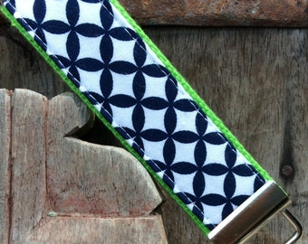 READY TO SHIP-Beautiful Key Fob/Keychain/Wristlet-Navy Hexi on Lime