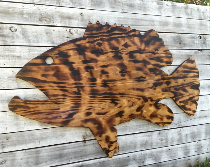 Large Outdoor Wall Art Fish Decor, Coastal Fish Sign, Goliath Grouper Wood Sign Outdoor, Fisherman's gift, Man Cave decoration.