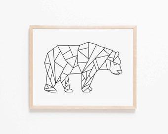 Geo Bear Nursery Art. Nursery Wall Art. Nursery Prints. Nursery Decor. Animal Wall Art. Adventure Nursery. Bear Wall Art. Woodland Nursery.