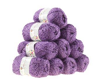 10 x 50g knitted yarn wool cotton Symbiosis #57 Purple