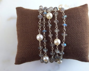 Long Gemstone Necklace Labradorite and Pearl 36 inch Layering Chain Station Necklace Cashmere Grey Wrap Bracelet Handmade Fine Jewelry