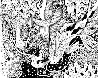 Koi Fish Ink Drawing Art Print