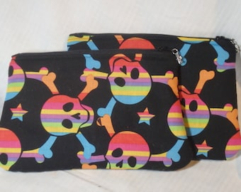 Pirates Bag, Rainbow Clutch, Pencil Case, Skull & Crossbones, Makeup Bag, Zippered Pouch, Toiletry Bag, Travel Bag, Go Bag - Buy 2 and Save